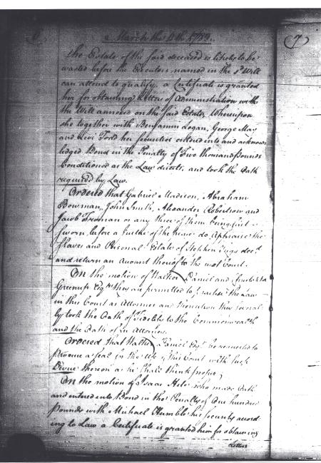 Order Book A, Virginia Supreme Court-District of Kentucky, - Mar. 11, 1783 (p.2)