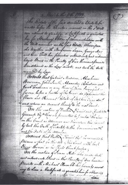 Order Book A, Virginia Supreme Court-District of Kentucky, - Mar. 11, 1783 (p.2)