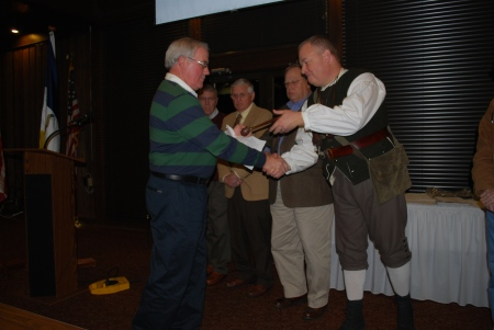 "Outgoing President Ken Oakley ""Passes the Gavel"" to Incoming President Geoff Baggett"