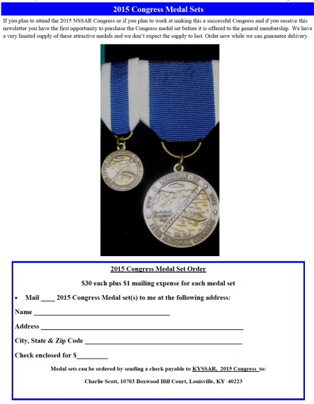2015 Congress Medal Order Form -  Click to Enlarge and Print