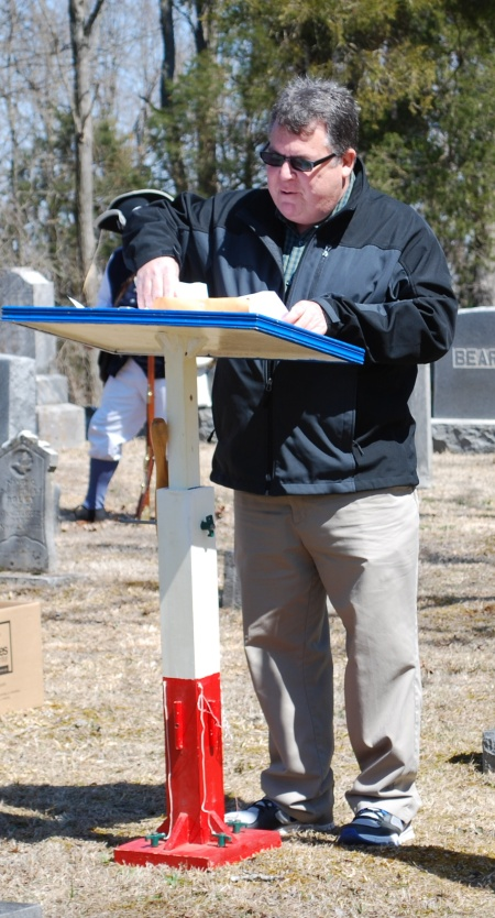 Dr. Dennis Adams delivers the Patriot's biographical sketch.