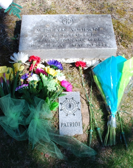 "The new ""Patriot"" marker on the William Addison Grave."