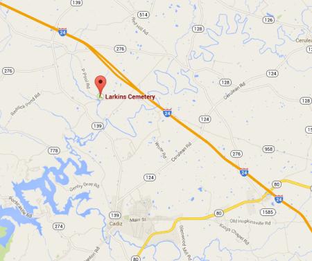 Location of Larkins Cemetery