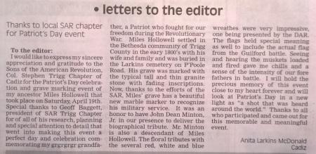 Letter to the Editor - Cadiz Record / 30 Apr 2014