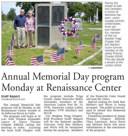 Memorial Day Program Story