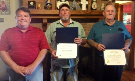 Compatriot Dennis Adams with veterans Brent and Charles D. Stewart