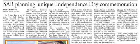 Independence Day Promotional - The Cadiz Record 06/25/14