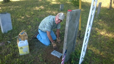 James Sumner Placing the Stone on His Ancestor's Grave