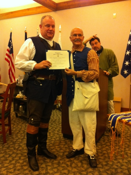 Geoff Baggett receives the Partners in Patriotism Certificate from new President General Lindsey C. Brock.