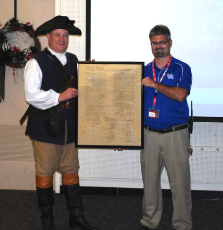 Mr. Futrell Receives the Copy of the Constitution