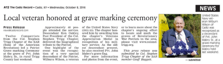 The Cadiz Record Report on Last Weekend's Grave Marking