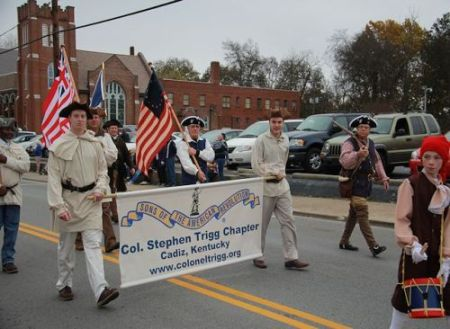 Col. Stephen Trigg Chapter Marches in the Cadiz Veteran's Day Parade