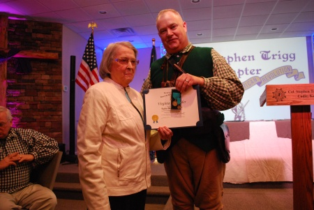 Virginia Alexander is awarded the Lydia Darragh Medal for Three Years of Conspicuous Service to our Chapter.