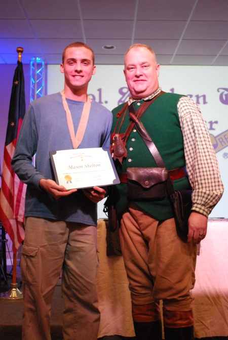 Mason Shelton Receives the Chapter's Essay Contest Medal
