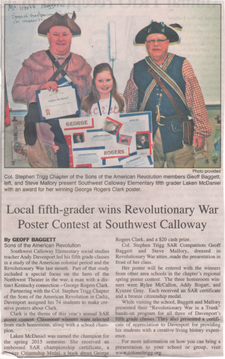 A Poster Contest Winner in the Local Paper!