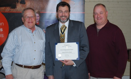 Steve Mallory (l) and Geoff Baggett (r) Receive the Colgan Norman Award from Outgoing President Doug Collins)