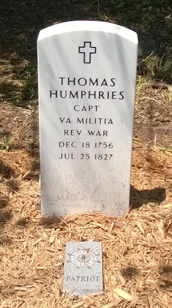 Thomas Humphries' New VA Headstone and SAR Patriot Marker