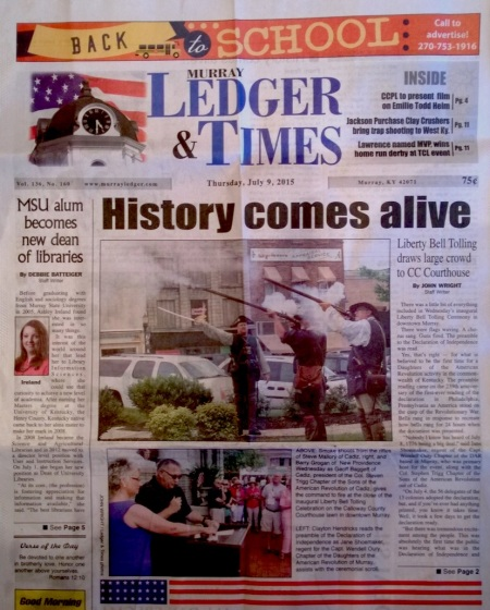 Murray Ledger Story Front Page