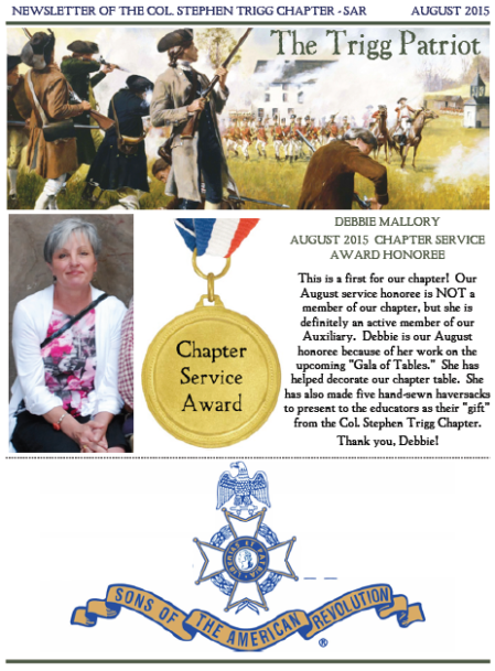Aug 2015 Newsletter Cover
