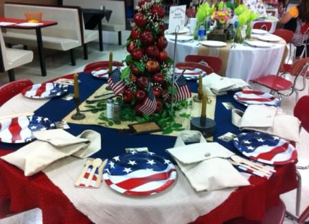 The patriotic Col. Stephen Trigg Chapter table.