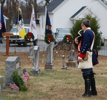 Col. Stephen Trigg Compatriot Ronnie Mathis of Aurora Renders Honors at a Veteran's Grave
